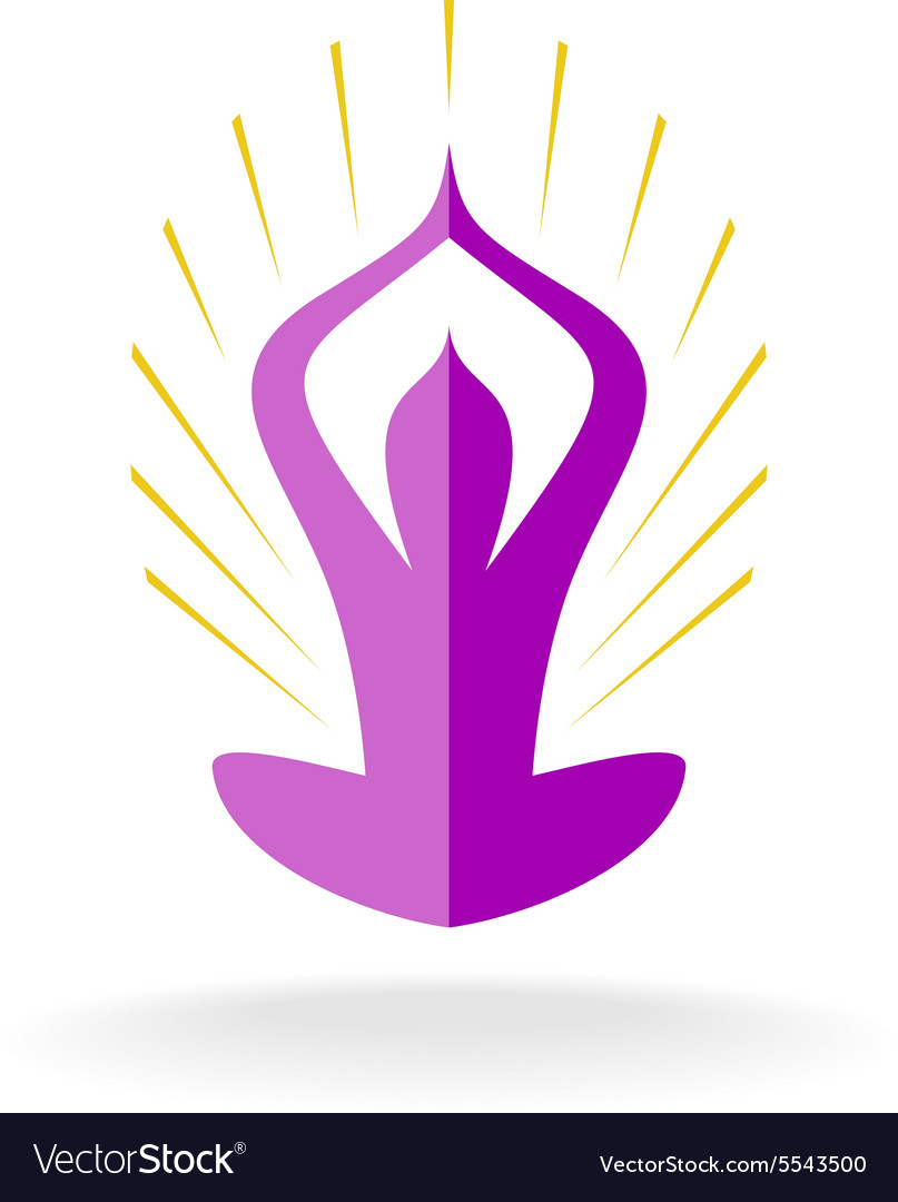Yoga pose logo with sun rays vector