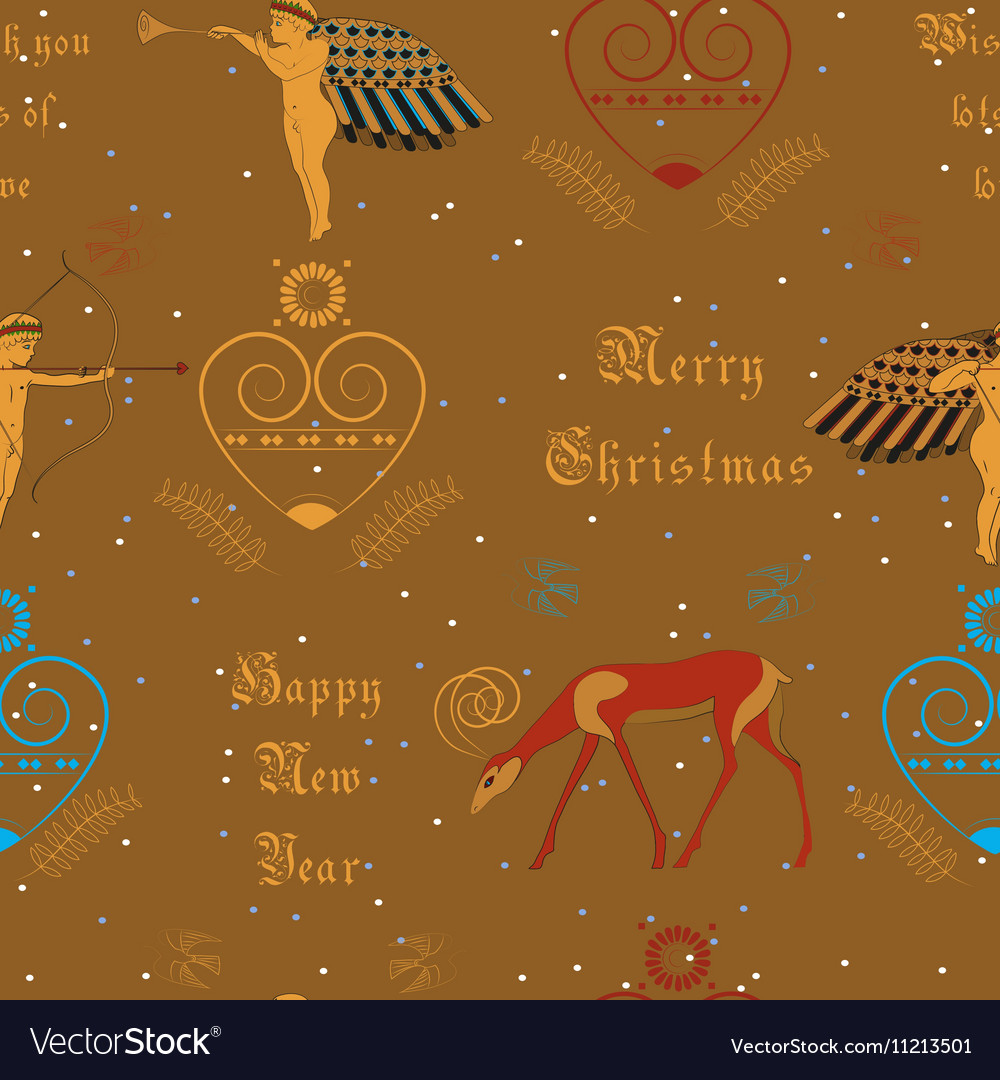 Christmas golden angels festive seamless pattern vector