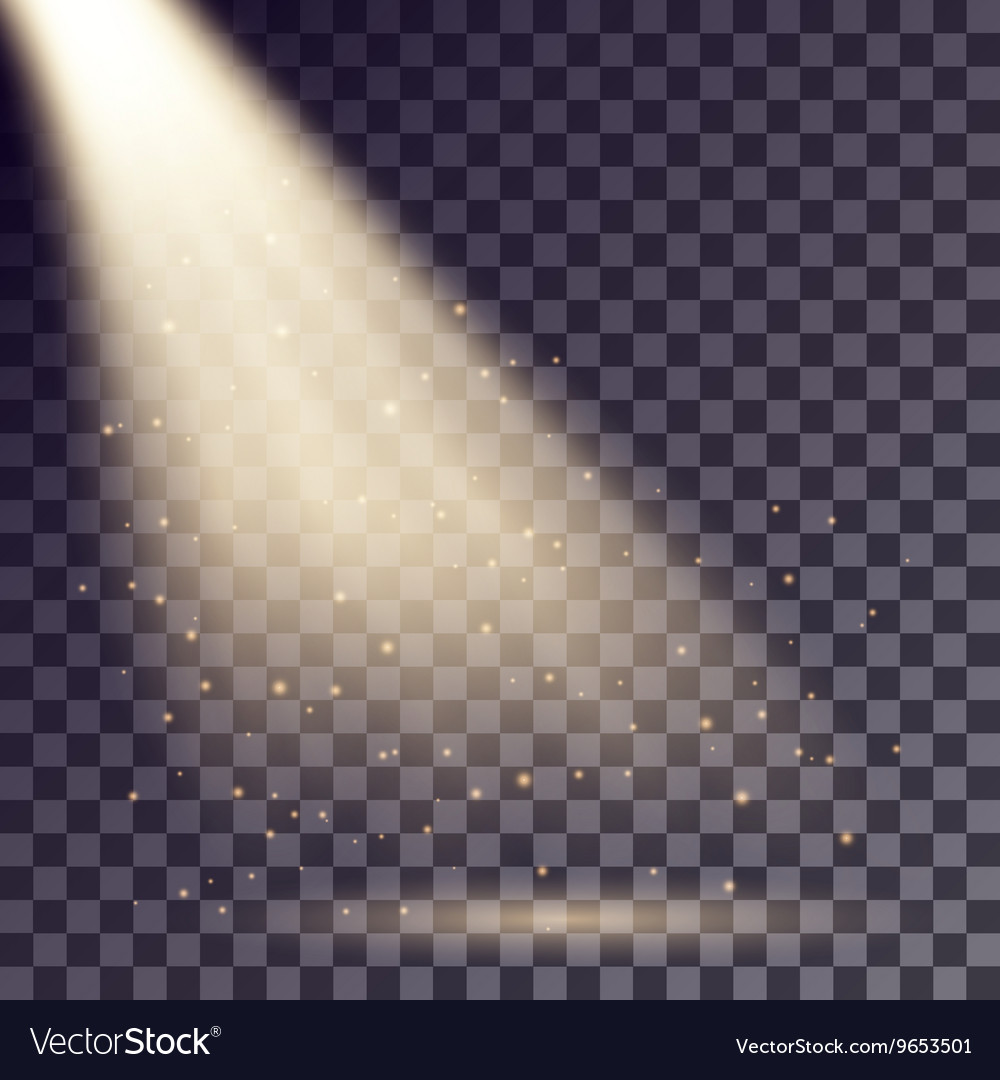 Golden rays from spotlight vector
