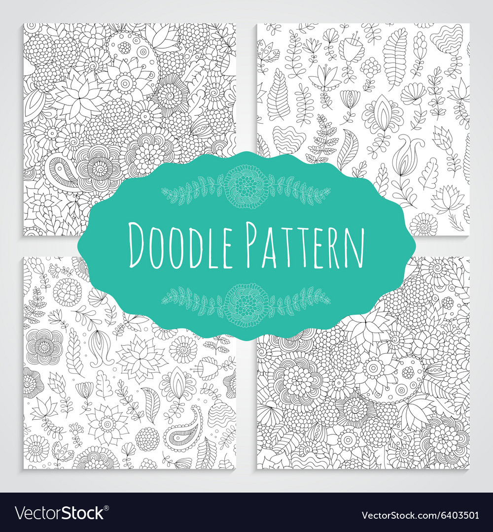 Set ofoodle patterns black and white vector