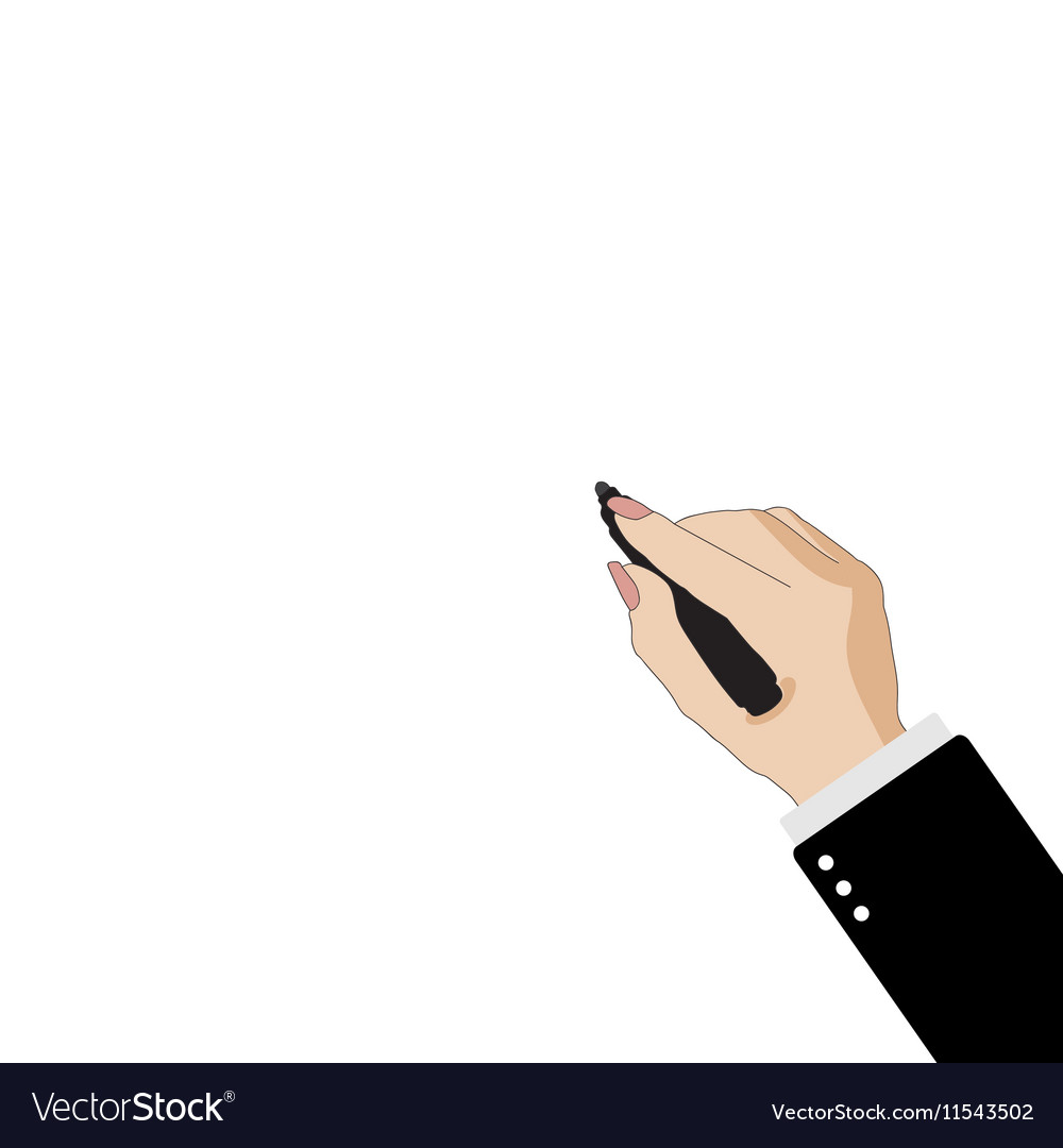 Business woman s hand with marker on white vector