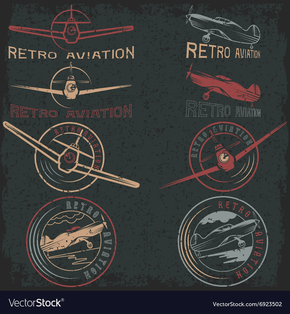Set of grunge vintage labels retro aviaton vector