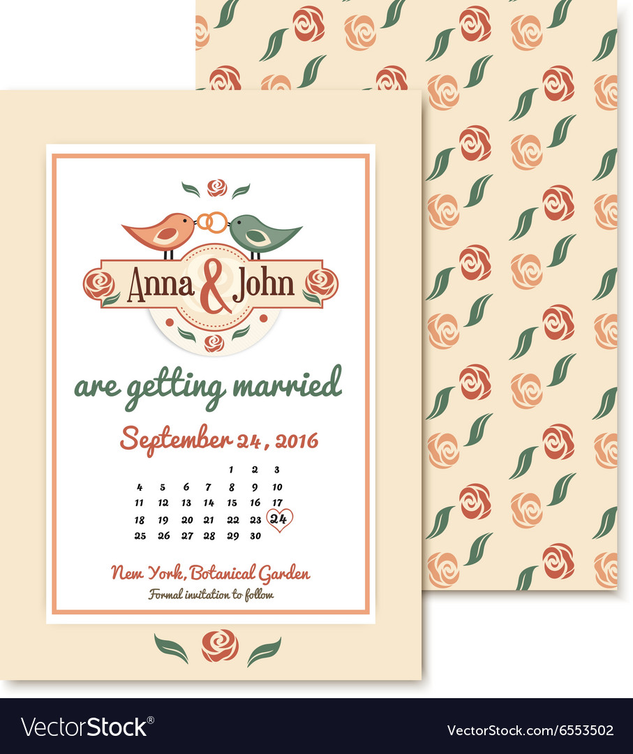 Wedding vintage invitation in retro design with vector