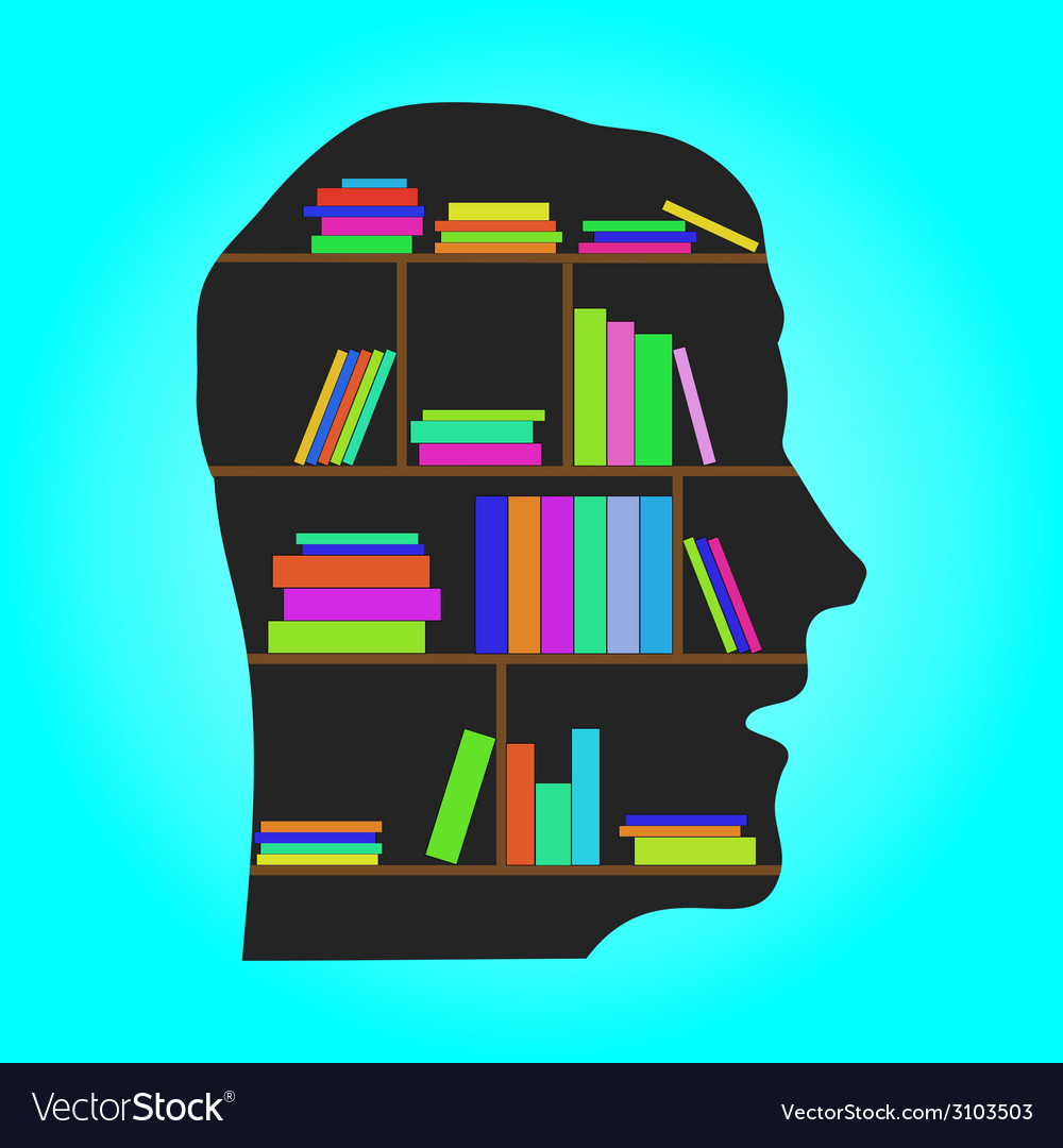 Head library  flat concept vector