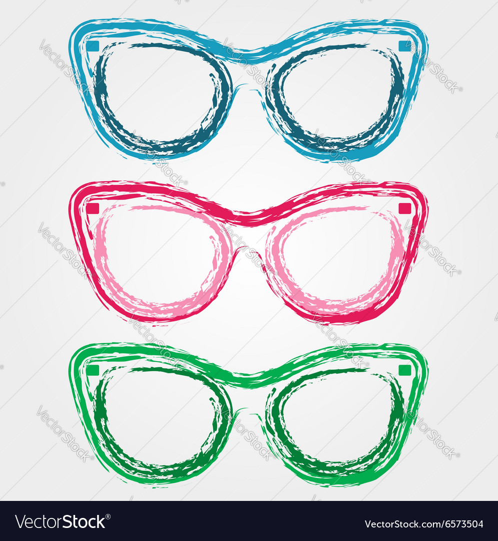 Colorful sunglasses sketched with crayon vector