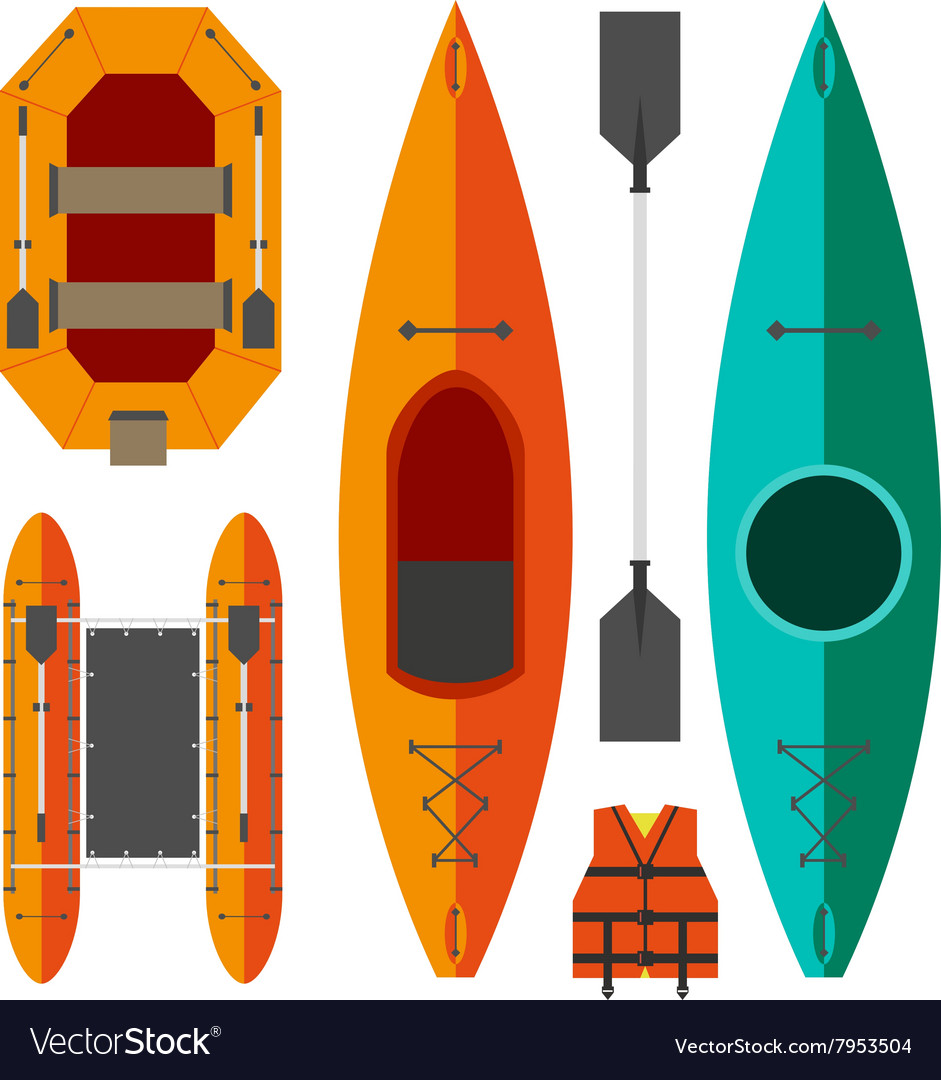 Kayak and raft boats vector
