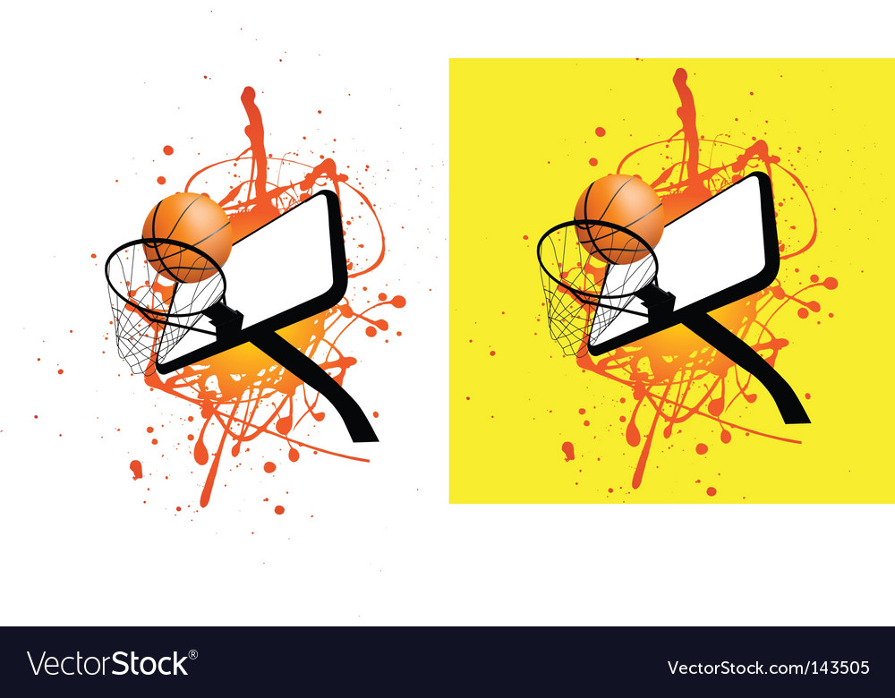 Basketball hoop splat vector