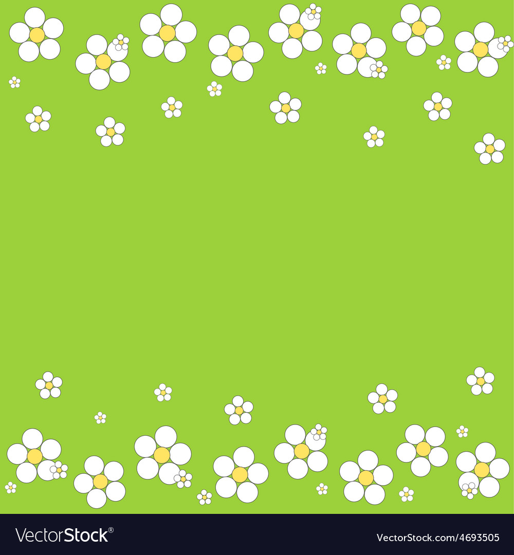 Seamless white floral pattern on a green backgroun vector