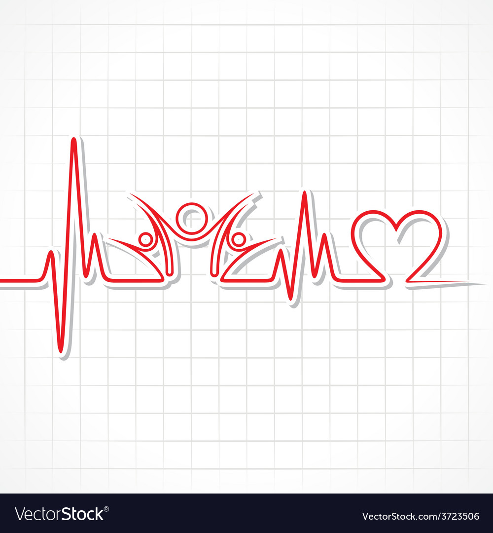 Heartbeat with a unity symbol in line vector