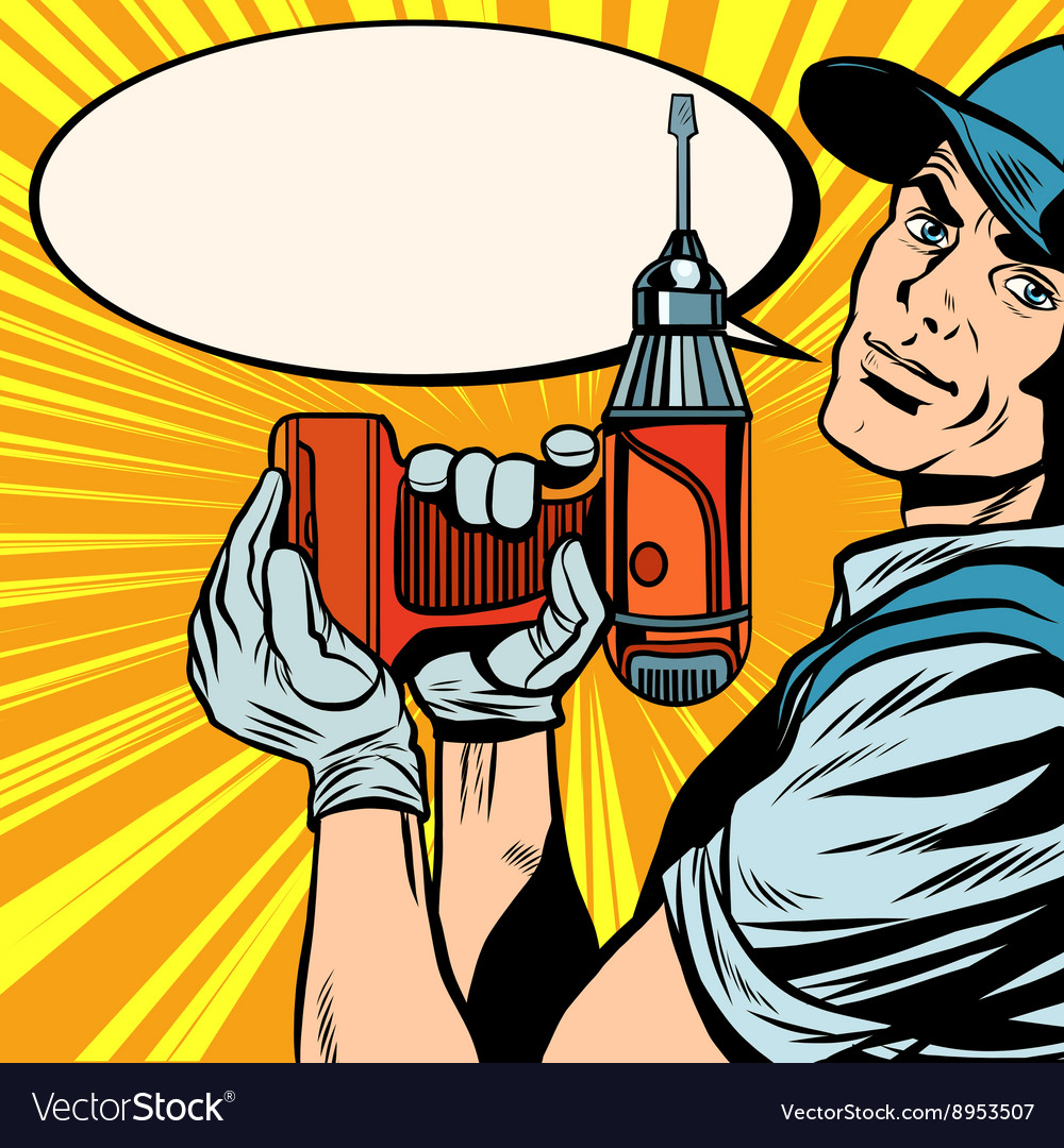 Male master repairman with a drill vector