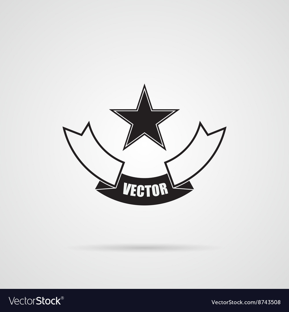 Black gray star emblem vector
