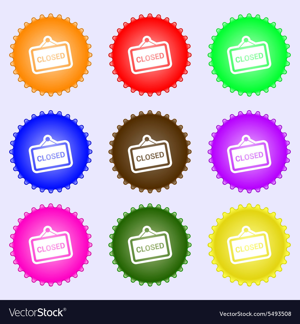 Close icon sign a set of nine different colored vector