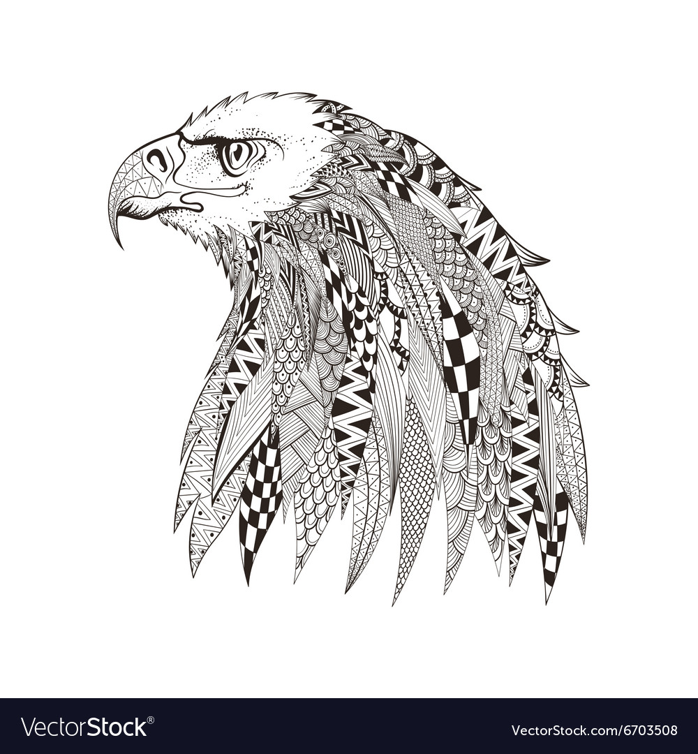 Zentangle stylized head of eagle hand drawn doodle vector