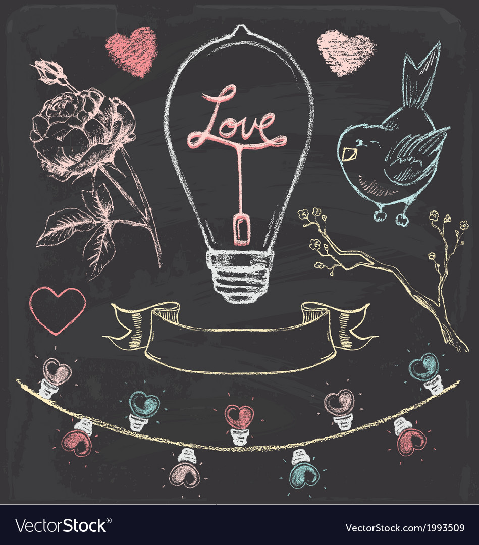 Hand-drawn-chalk-romantic-elements-set-vector