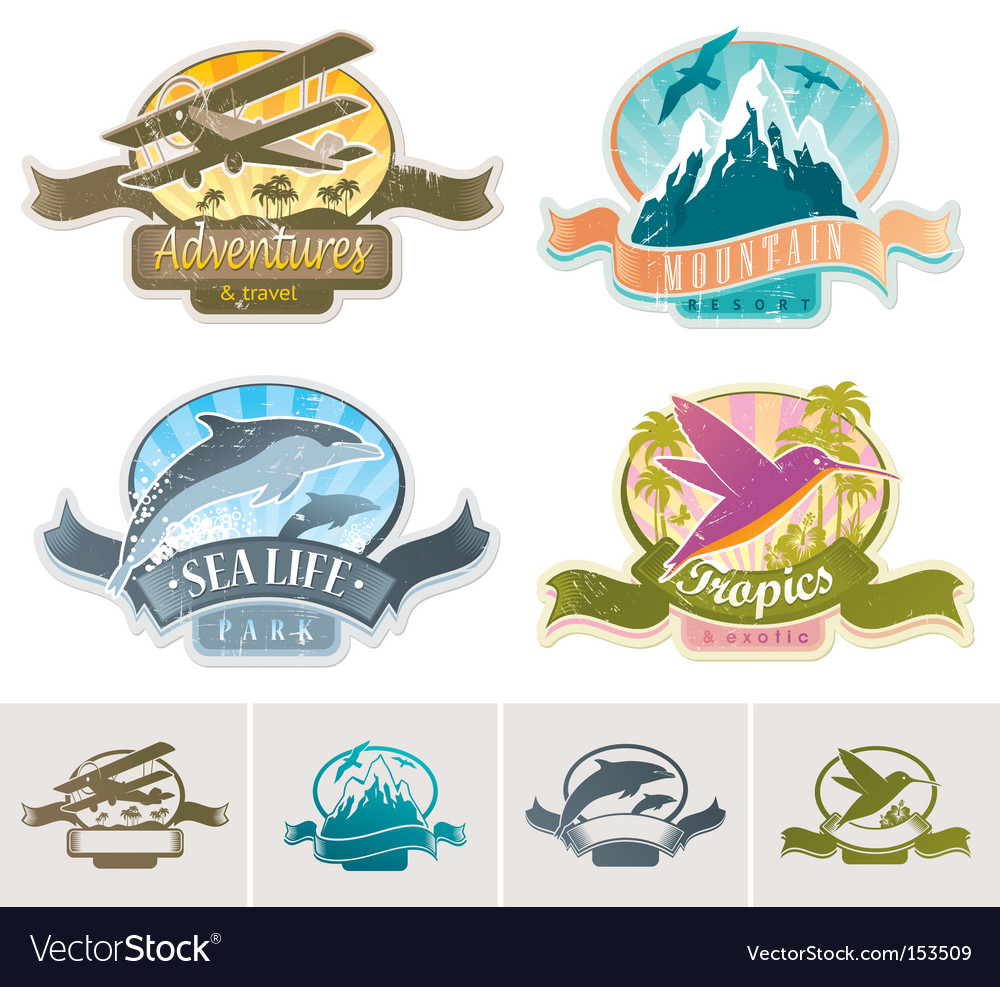 Landmarks adventures travel vintage label vector
