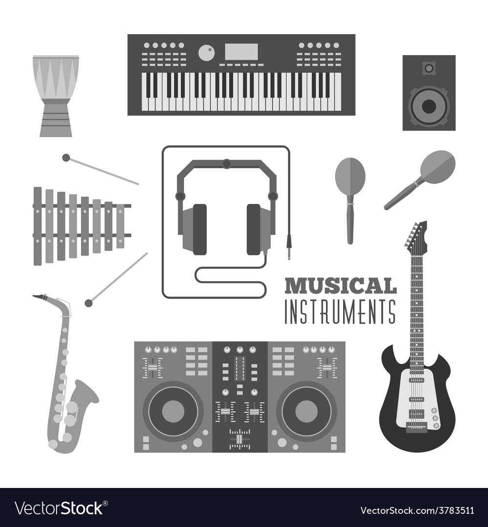 Musical instruments flat icons vector