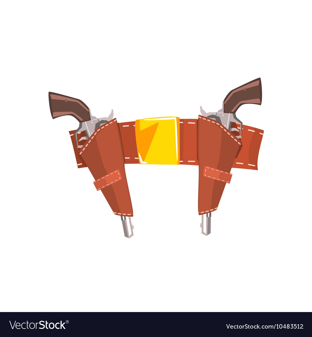 Pair of pistols in belt holster drawing isolated vector