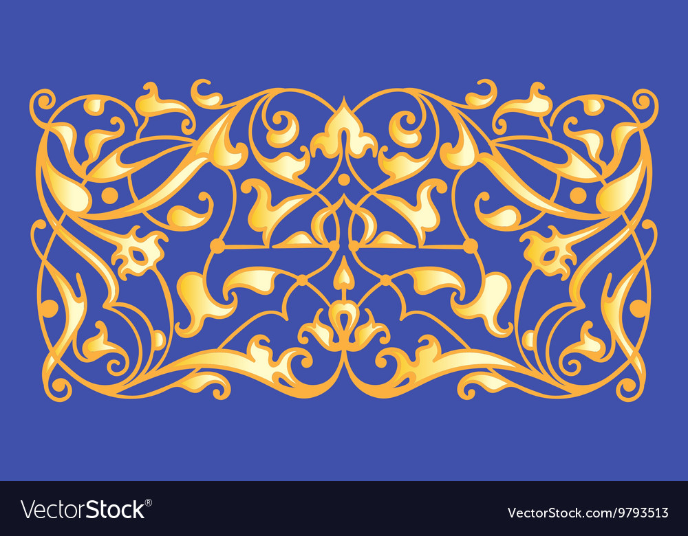 Oriental decorative element zentangle gold on a vector