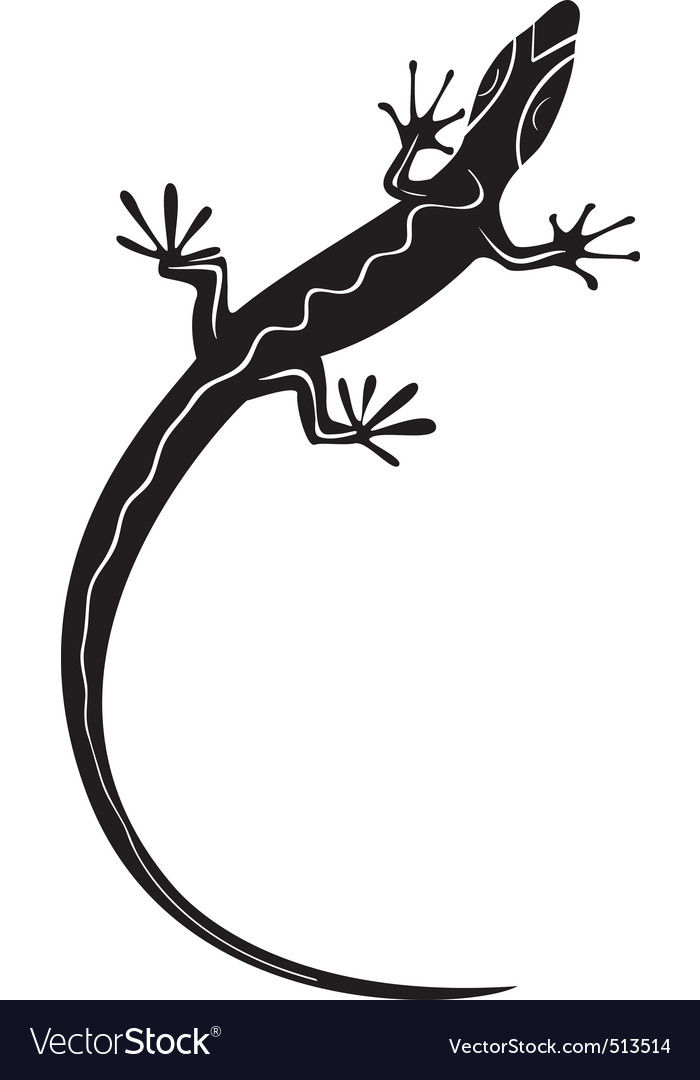 Black decorative lizard silhouette tattoo vector