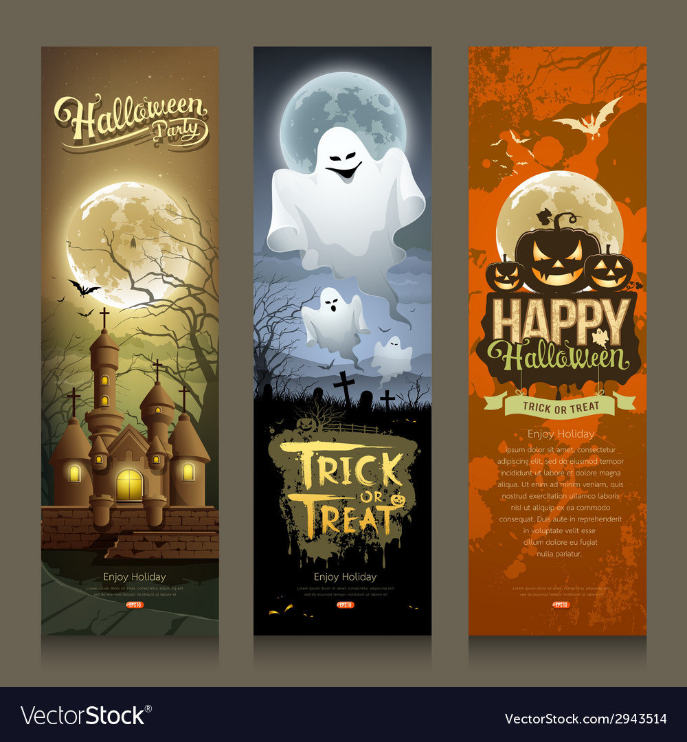 Happy halloween day collections banner vertical vector