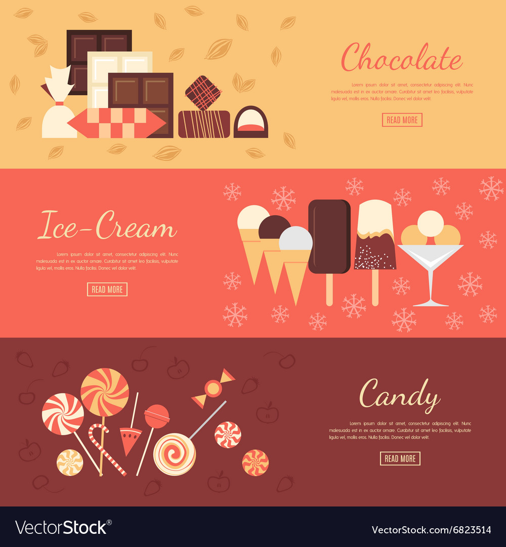 Horizontal banner set with chocolate sweets ice vector