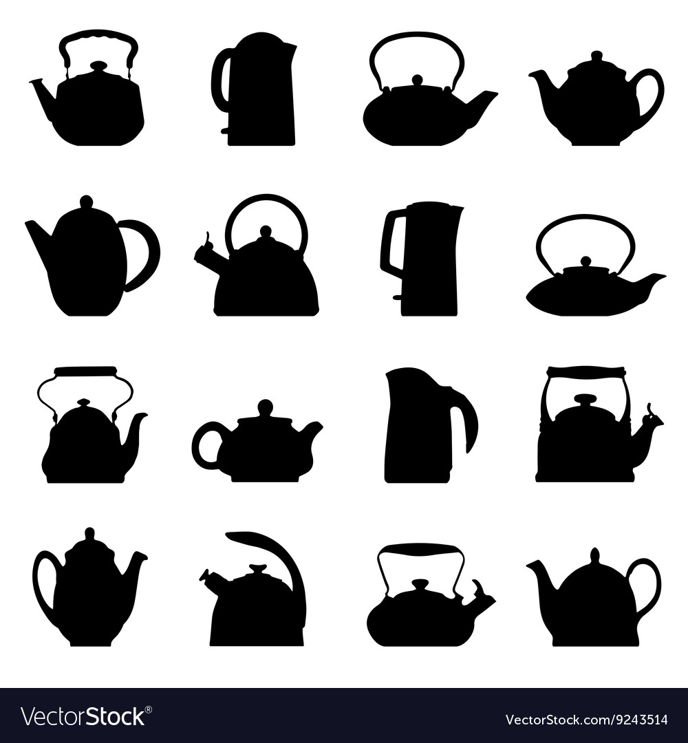 Vintage logo teapot set isolated vector