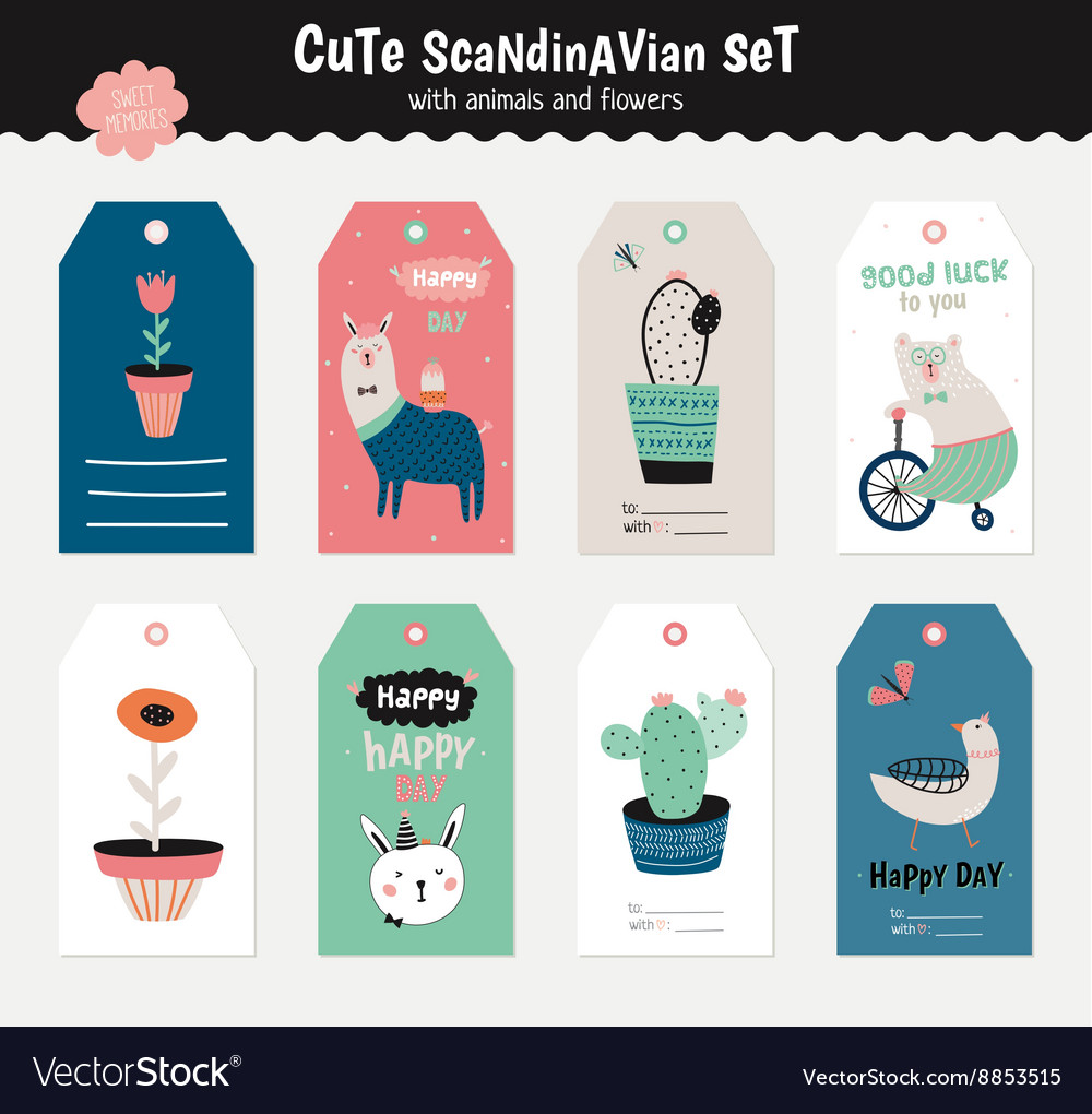 Cute scandinavian set vector