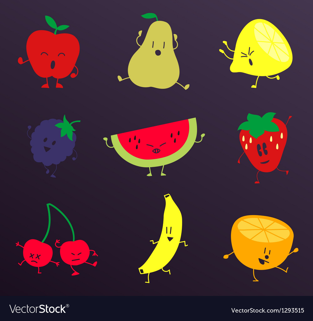 Happy fruits characters set vector