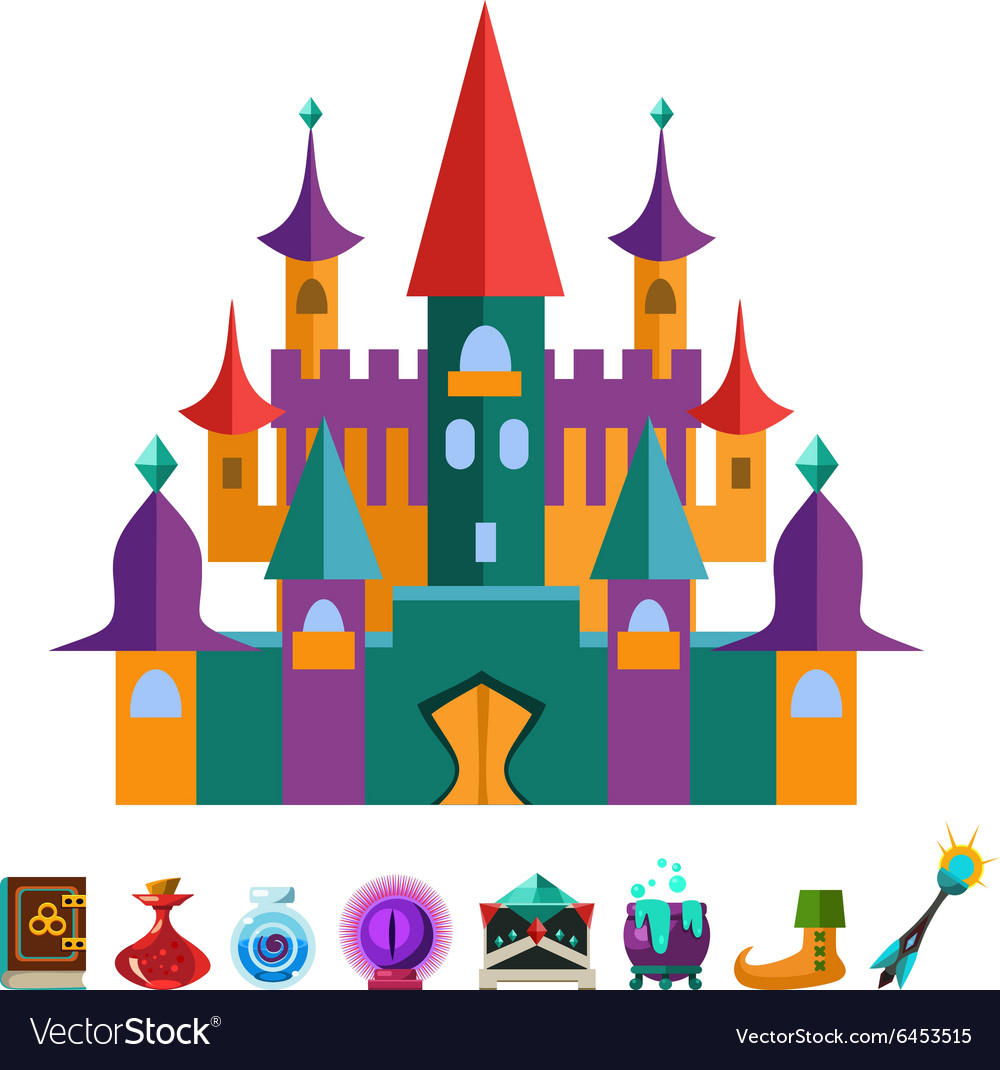 Medieval fortress and elements for games vector