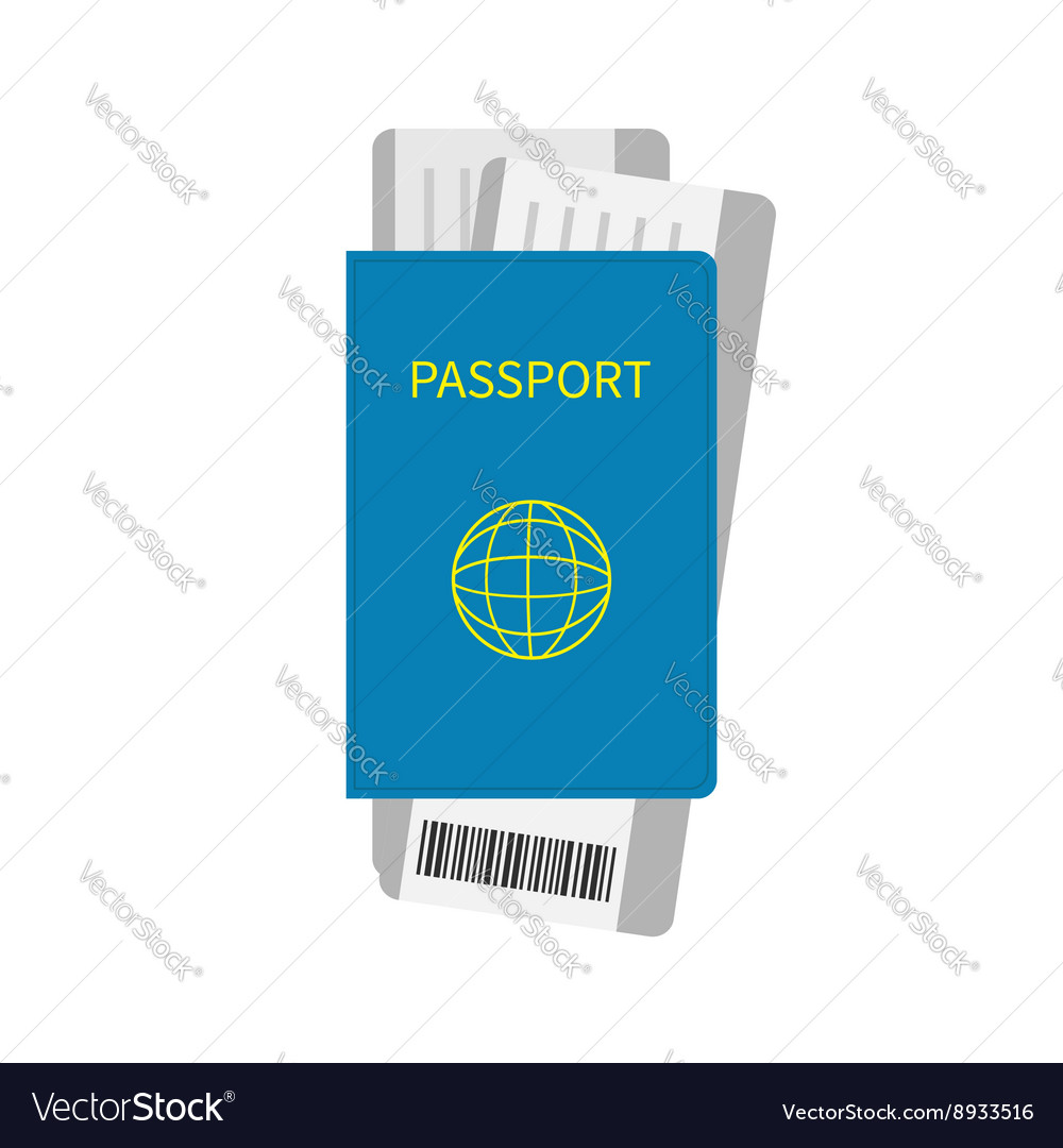 Passport and two air boarding pass ticket icon vector