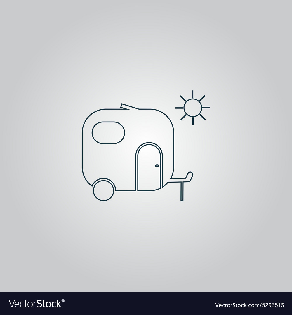 Travel trailer flat icon vector