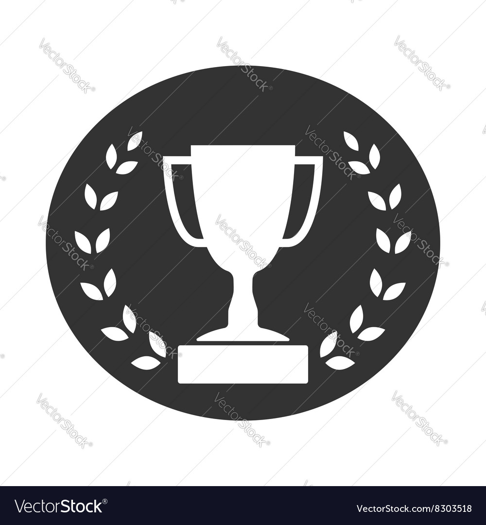 Trophy cup with laurel wreath icon 2 vector