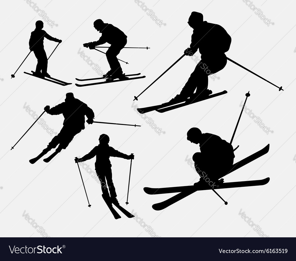 Skiing sport silhouette vector
