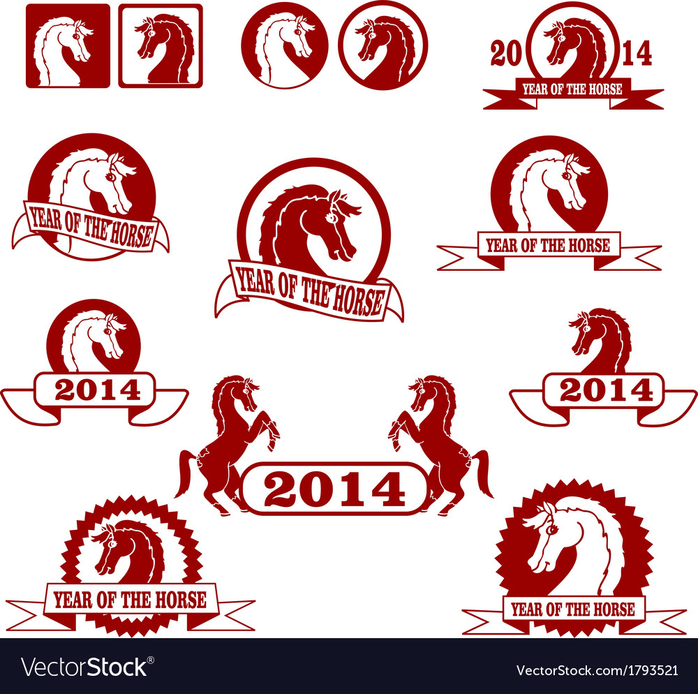 2014 year of the horse signs and labels collection vector