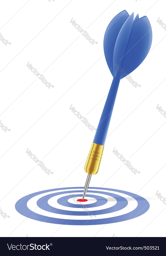 Blue dart hitting the target vector