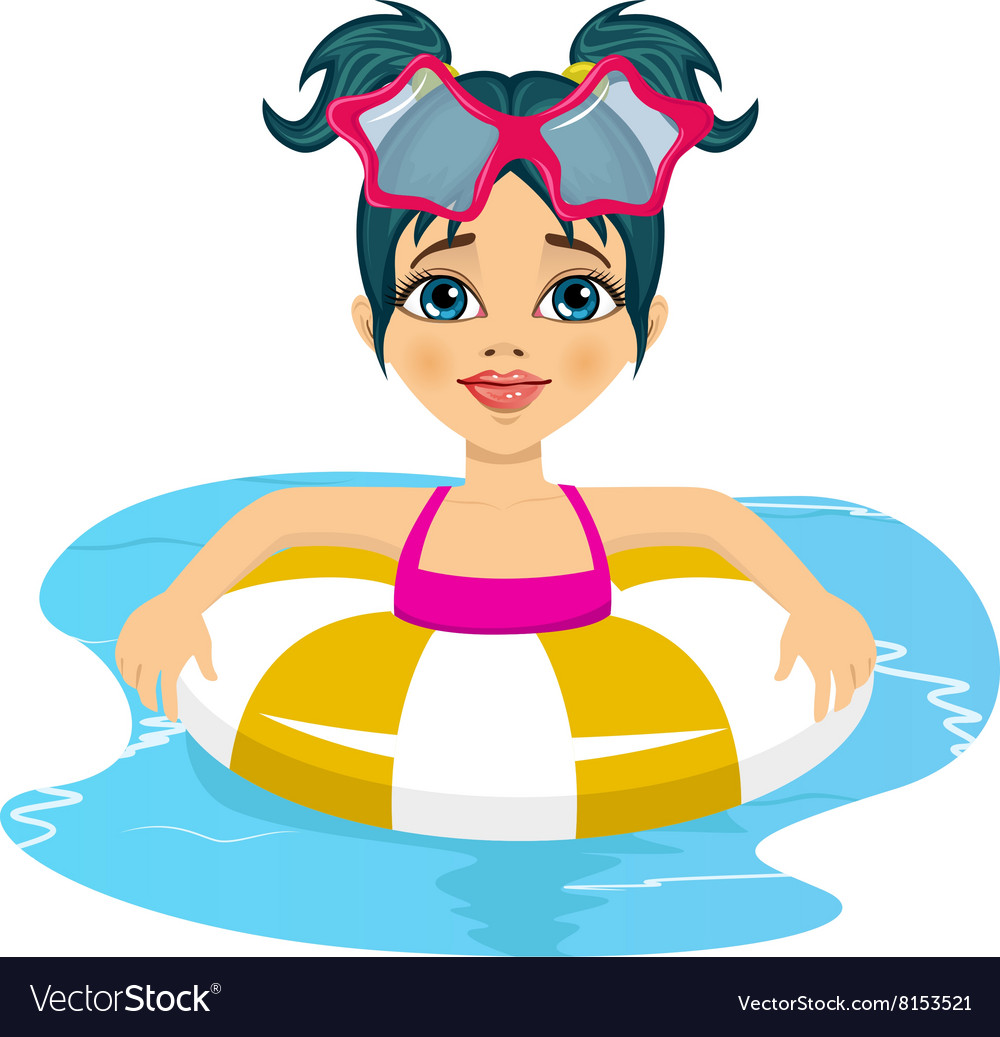 Girl swimming in pool on inflatable ring vector