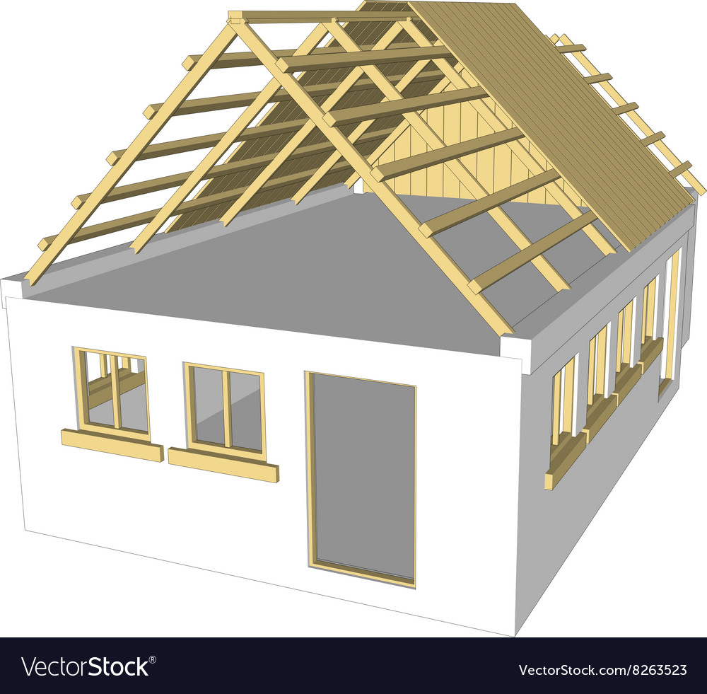 Cottage white house vector