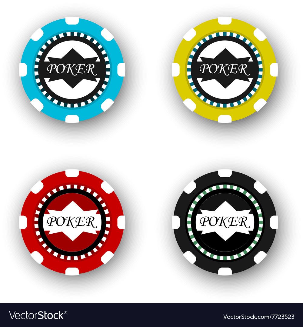 Four poker chips isolated on white background vector