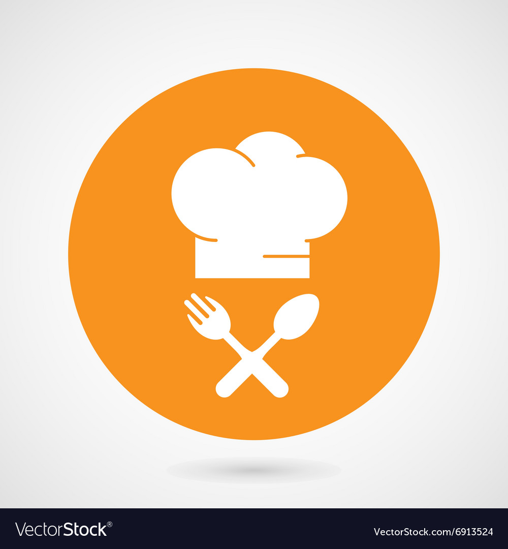 Chiefcooks hat and crossed fork and spoon vector