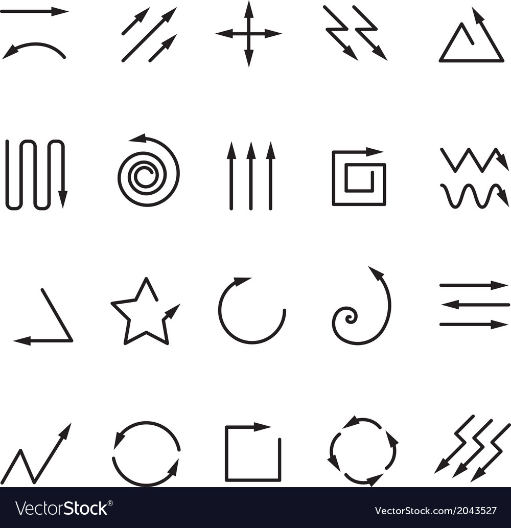 Different arrow signs collection isolated on white vector