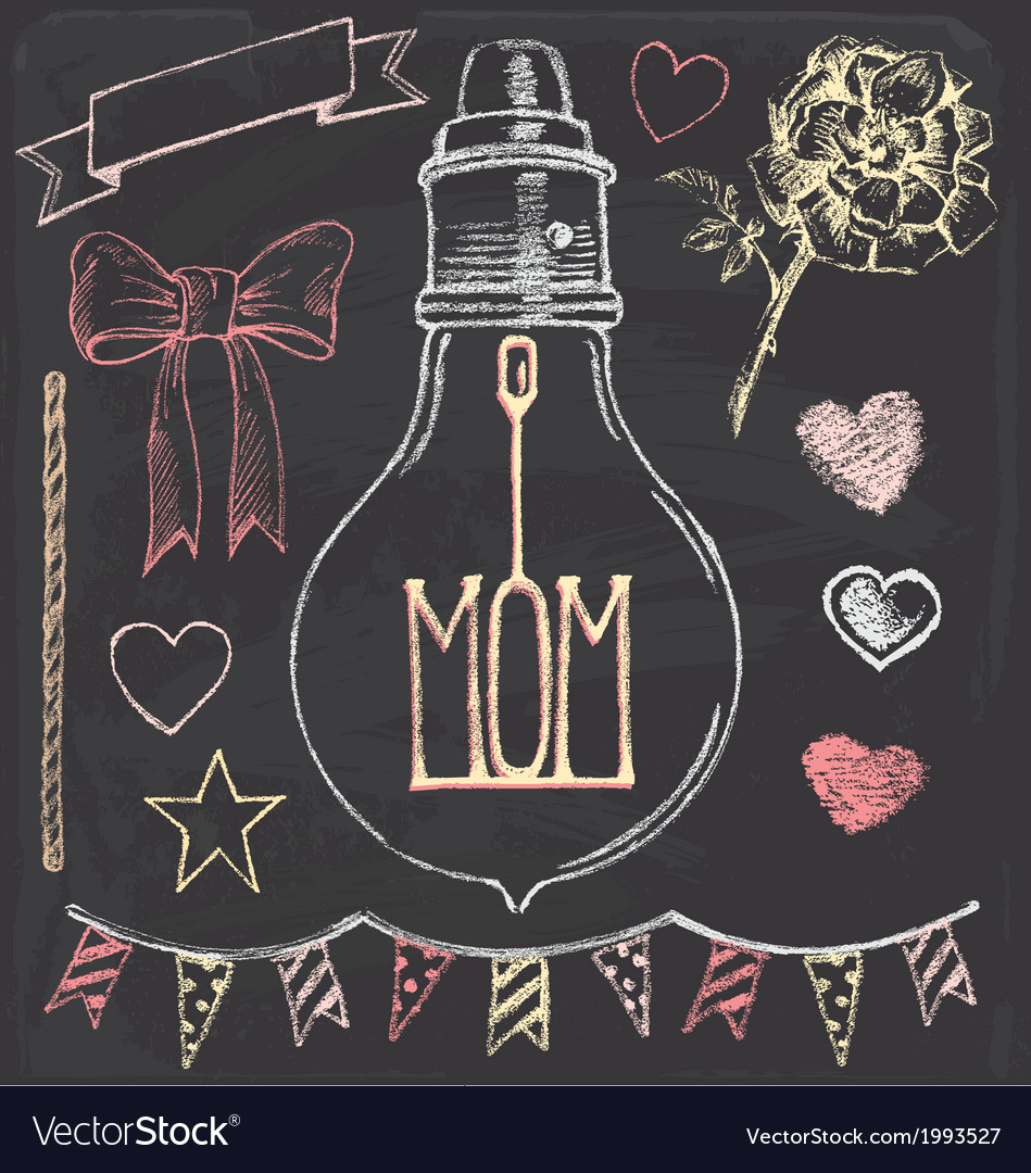 Hand drawn chalk mothers day set vector