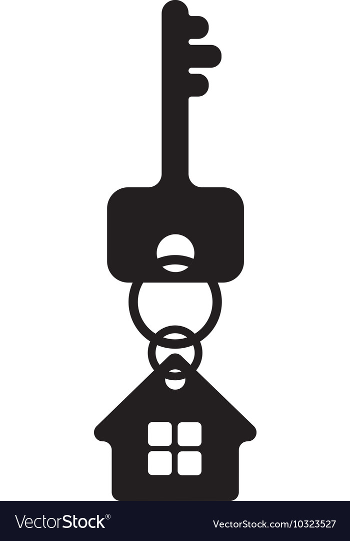 Key with house fob silhouette vector