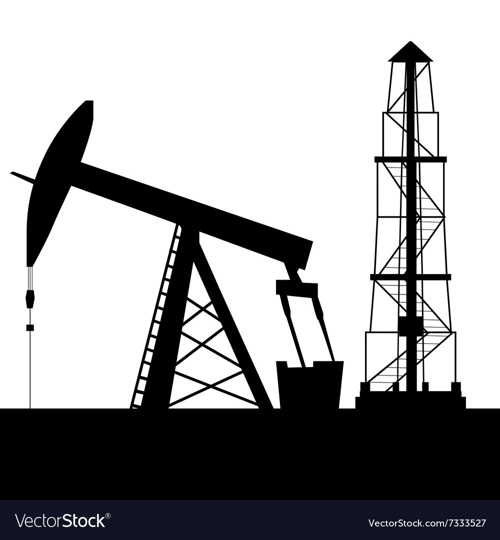 Silhouette of oil derrick vector
