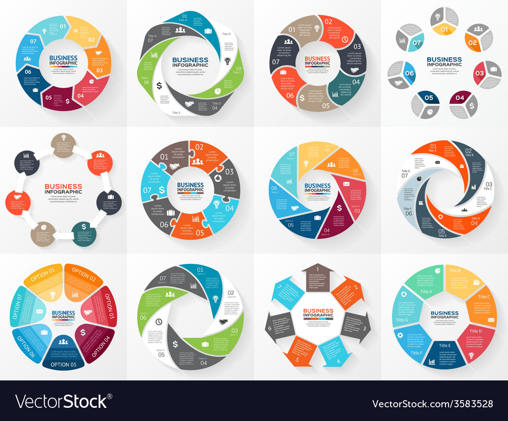 Circle arrows infographics set template for vector