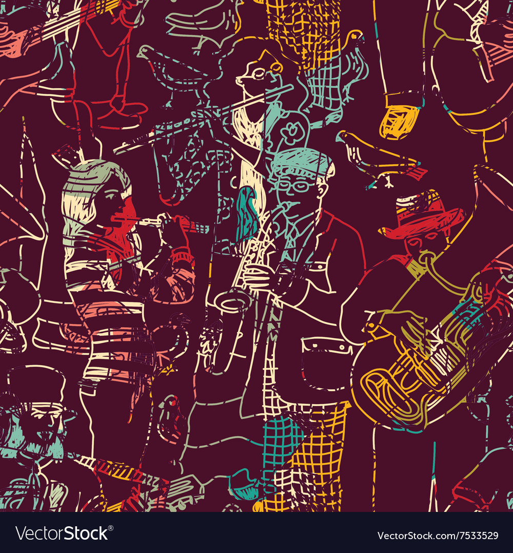 Color music jazz band seamless pattern vector
