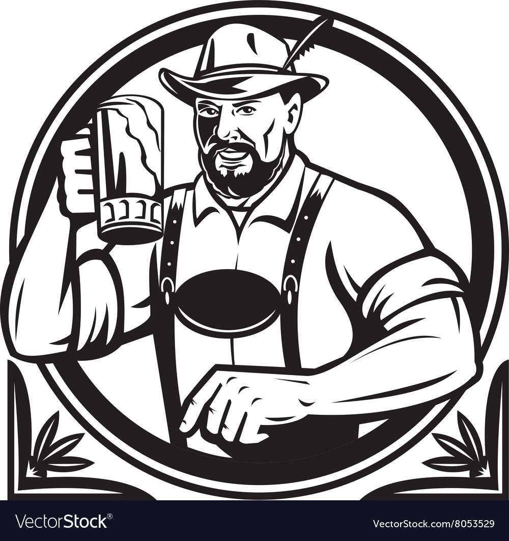 German beer drinker oktoberfest black and white vector