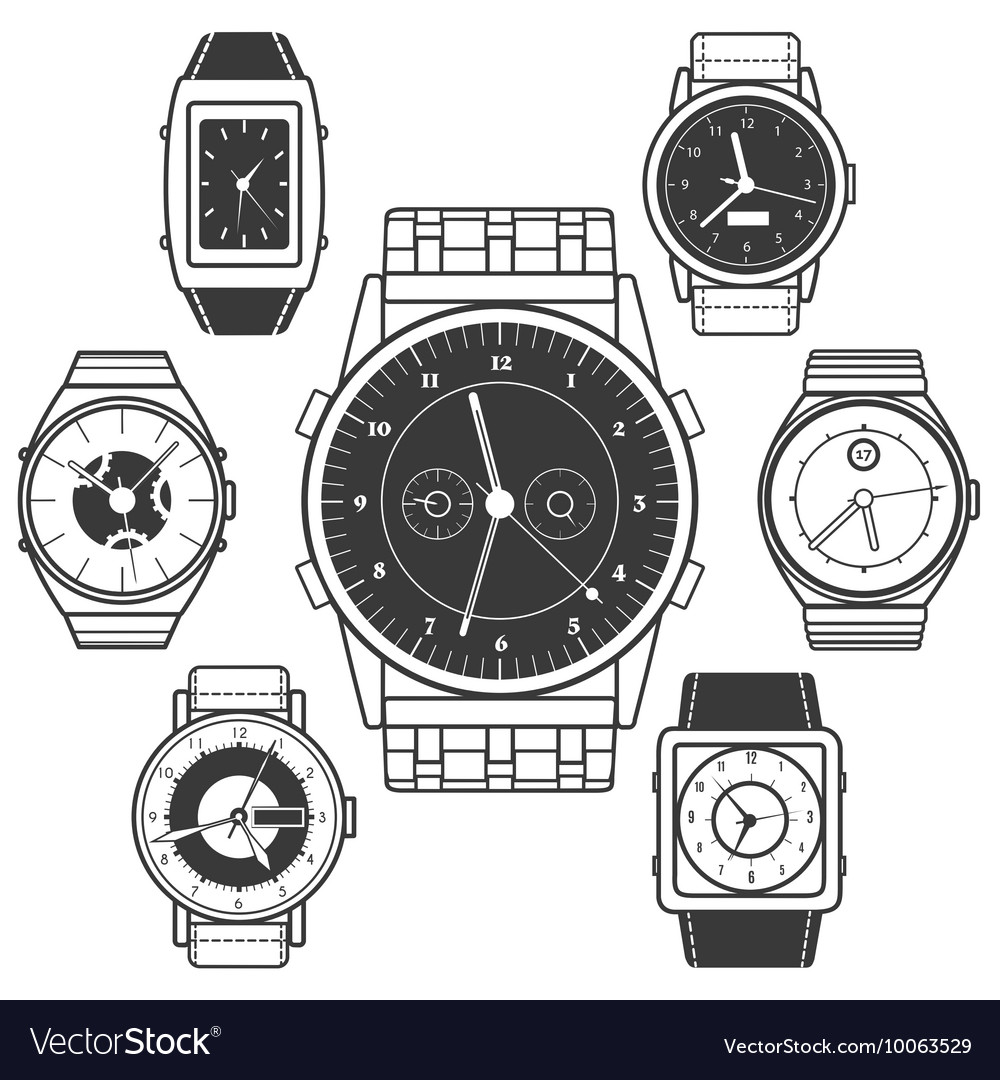 Hand watch black icons set vector
