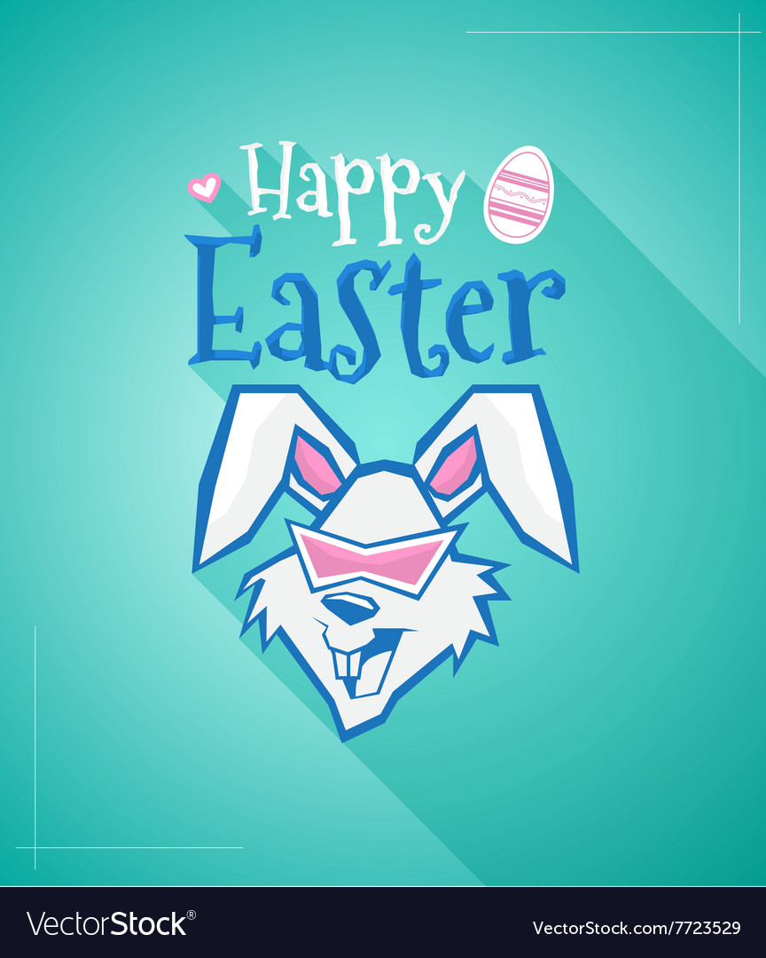 Happy easter rabbit with long shadow vector
