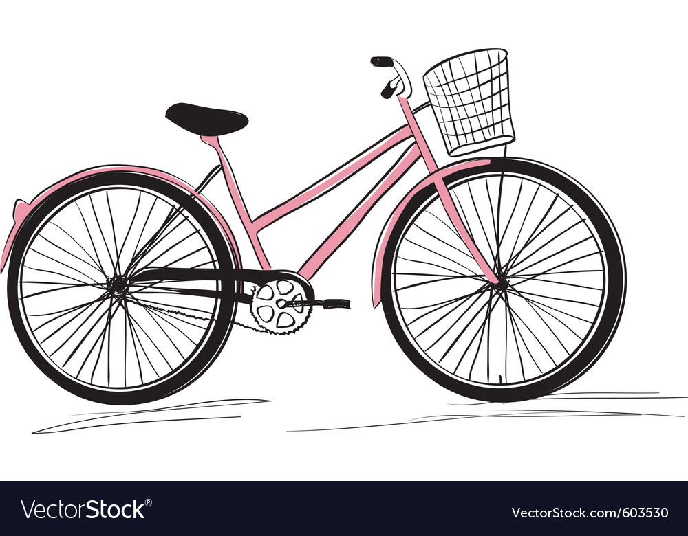 Classic ladies bike vector