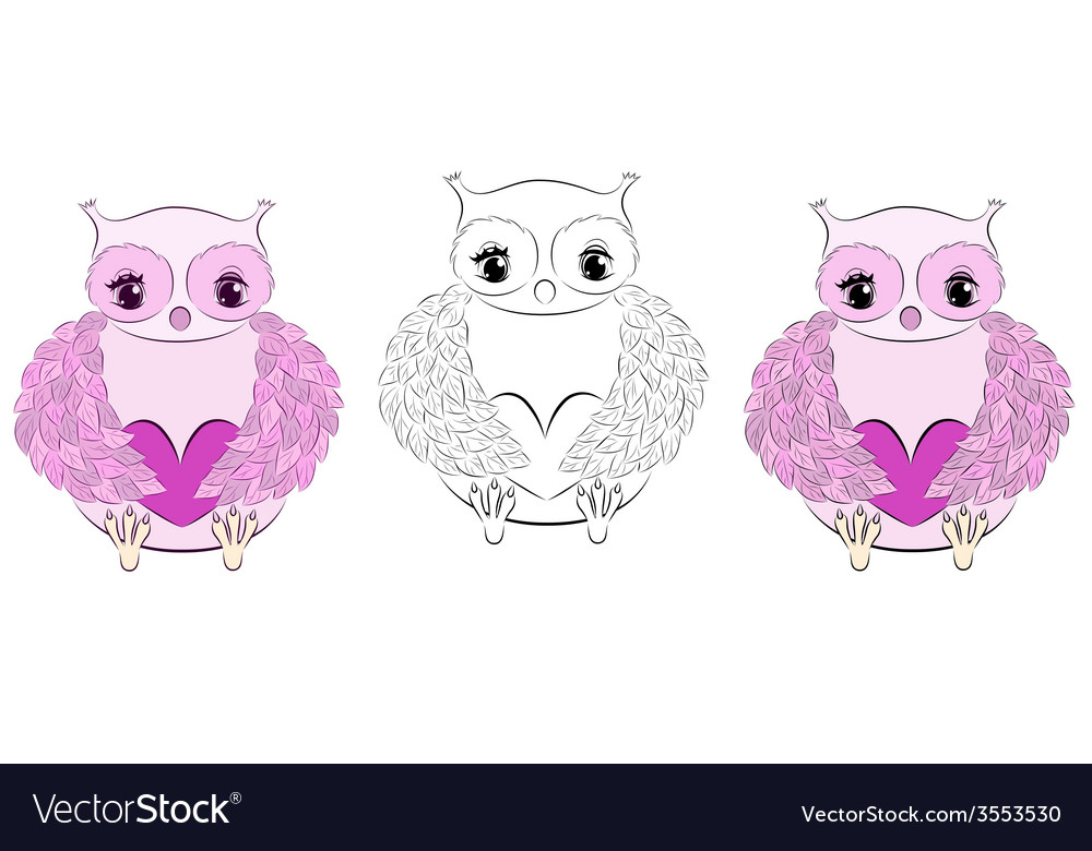 Cute pink owl with heart vector